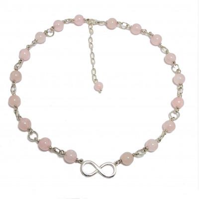 Collar de cuarzo rosa y plata 1ª ley