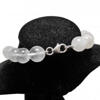 Collar de cuarzo cristal de roca con nudos bola 12 mm 45 cm