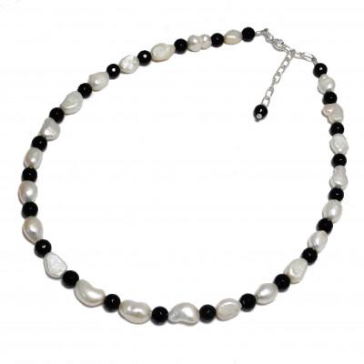 Collar perlas cultivadas, ónix y plata 1ª ley
