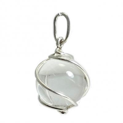Colgante cuarzo cristal de roca y plata 1ª ley