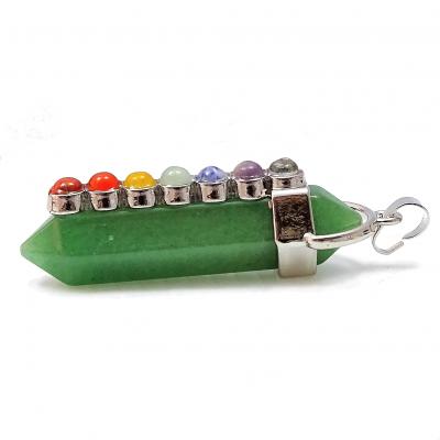 Colgante cuarzo verde y los 7 chakras