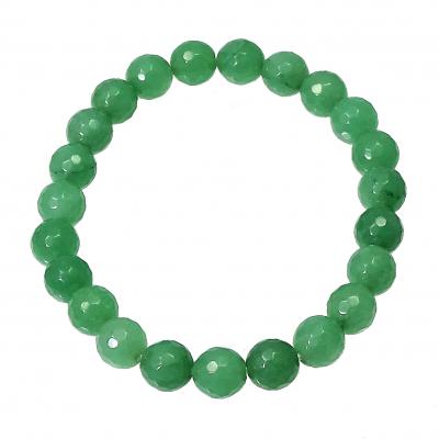 Pulsera cuarzo verde 8 mm facetado