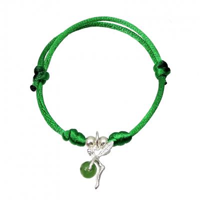 Pulsera hadita de la suerte Cuarzo verde y plata de 1ª ley
