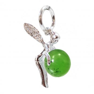 Colgante hada de la suerte jade y plata de 1ª ley