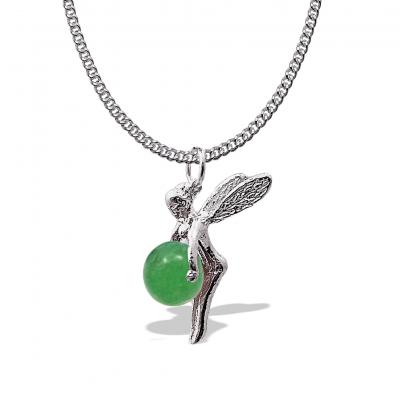 Colgante Hadita de la Suerte Cuarzo Verde con cadena de plata 1ª ley