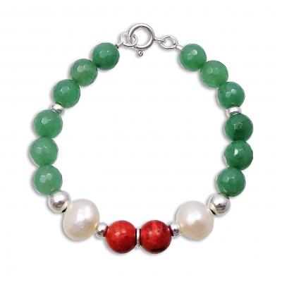 Pulsera Cuarzo Verde, Perlas, Coral Rojo y plata 1ª ley