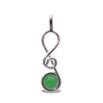 Colgante Clave de Sol Cuarzo Verde y plata 1ª ley