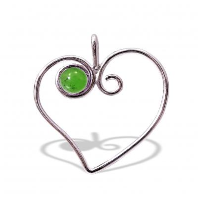 Colgante Corazón Jade y plata de 1ª ley
