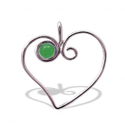 Colgante Corazón Cuarzo Verde y plata 1ª ley
