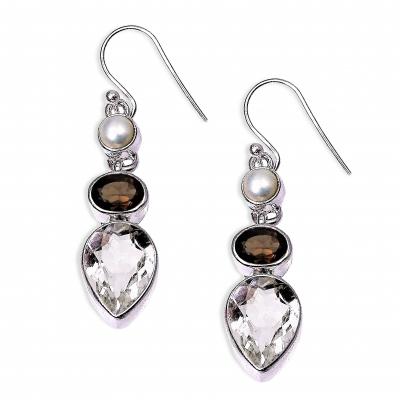 Pendientes Cuarzo Cristal de Roca Cuarzo Ahumado Perla y plata de 1ª ley