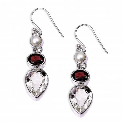 Pendientes Cuarzo Cristal de Roca, Granate, Perla y plata de 1ª ley