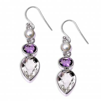 Pendientes Cuarzo Cristal de Roca, Amatista, Perla y plata de 1ª ley