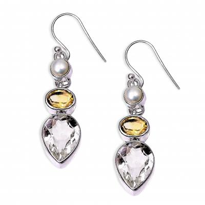 Pendientes Cuarzo Cristal de Roca, Cuarzo Citrino, Perla y plata de 1ª ley