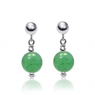 Pendientes Cuarzo Verde y plata de 1ª ley