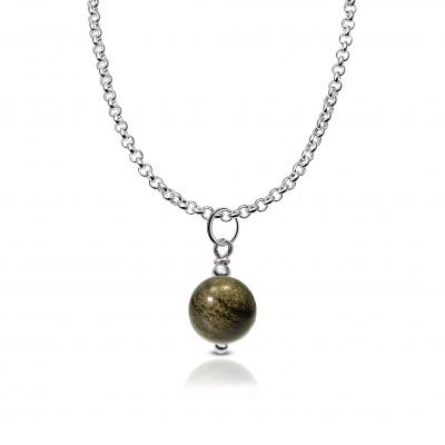 Colgante Minimalist Obsidiana dorada y plata de 1ª ley