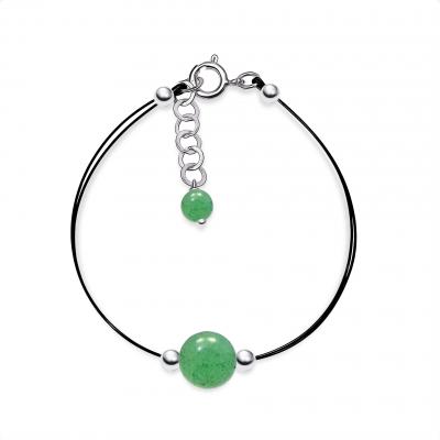 Pulsera Tiny Cuarzo verde  y plata de 1ª ley