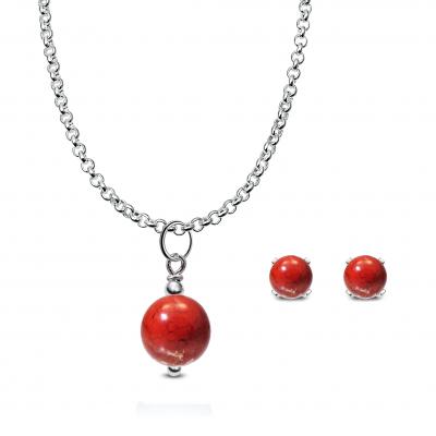 Conjunto Minimalist Jaspe rojo y plata de 1ª ley