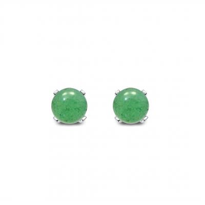 Conjunto Minimalist Cuarzo verde y plata de 1ª ley