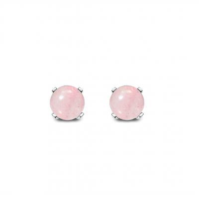 Conjunto Minimalist Cuarzo rosa y plata de 1ª ley