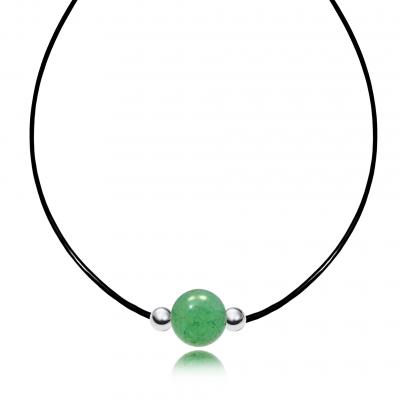 Gargantilla Tiny Cuarzo Verde y plata de 1ª ley