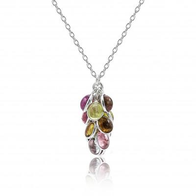 Colgante Grapes Turmalina Multicolor y plata de 1ª ley