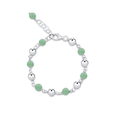 Pulsera Relief Sphere Cuarzo Verde y plata de 1ª ley