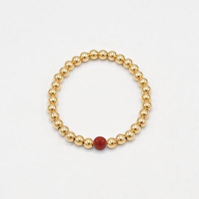 Pulsera Gold Stack Jaspe Rojo