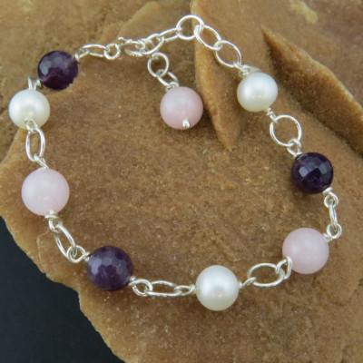 Pulsera cuarzo rosa, perla y amatista