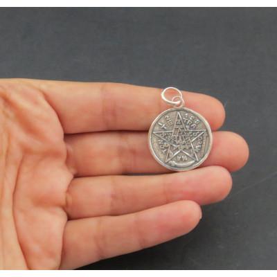 Colgante tetragramaton en plata de 1ª ley