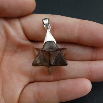 Pendientes cruceta de cuarzo cristal de roca y plata de 1ª ley bola de 6 mm