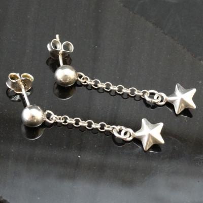 Pendientes  estrella colgante plata 925 mm