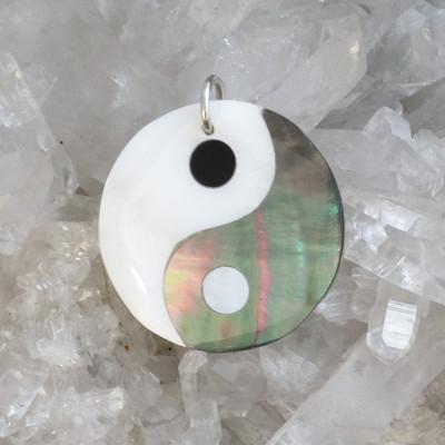 Colgante yin-yang abalon y nácar pequeño