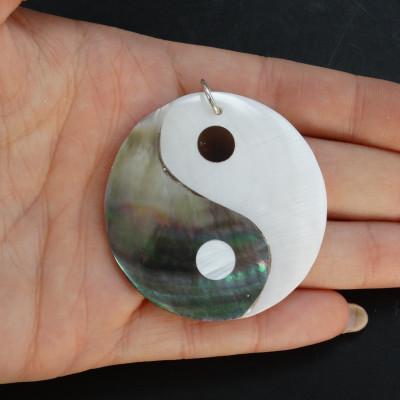 Colgante grande yin-yang de abalon, nácar y plata de 1ª ley