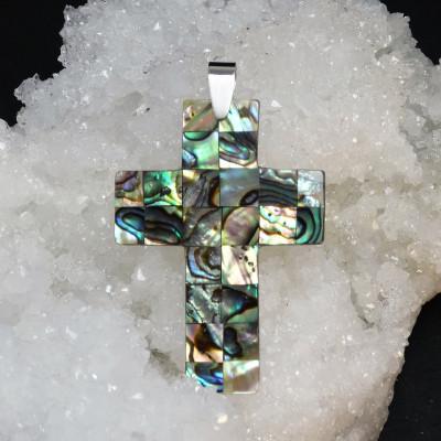 Colgante cruz de avalon y plata de 1ª ley