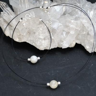 Conjunto de pulsera y gargantilla de piedra de luna y plata de 1ª ley