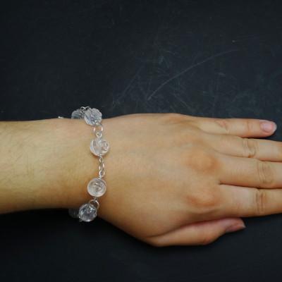 Pulsera cuarzo cristal de roca tallado y plata