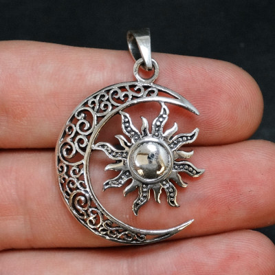 Colgante Sol y luna plata 925 mm