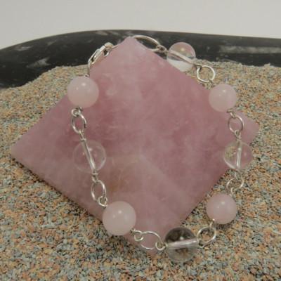 Pulsera cuarzo cristal de roca y cuarzo rosa