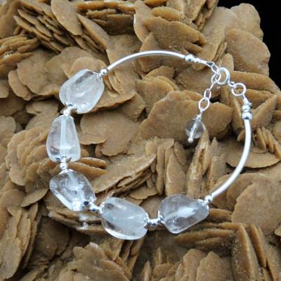 Pulsera cuarzo cristal de roca y plata
