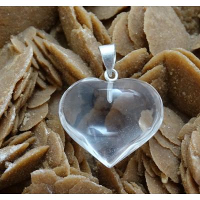 Colgante corazón de cuarzo cristal de roca y plata de 1ª ley
