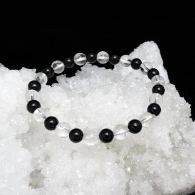Pulsera cuarzo cristal de roca y turmalina negra
