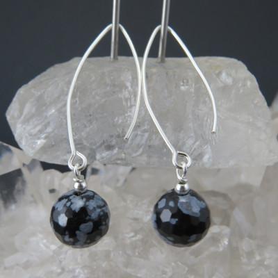 Pendientes de obsidiana nevada y plata de 1ª Ley