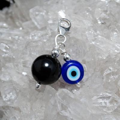 Fetiche charm turmalina negra, ojo turco y plata 1ª Ley