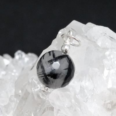 Colgante cuarzo turmalinado y plata 925mm