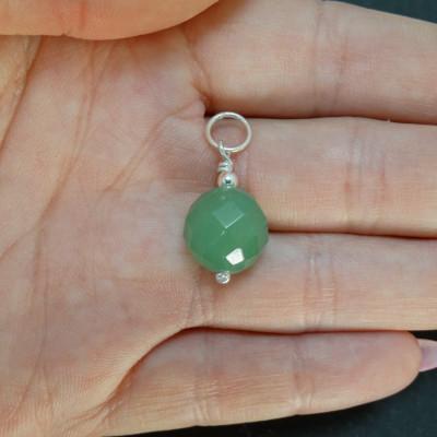 Colgante cuarzo verde y plata 925 mm