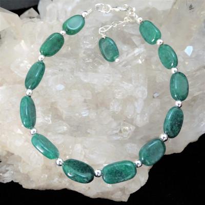 Pulsera cuarzo verde y plata 1ª ley 925 mm