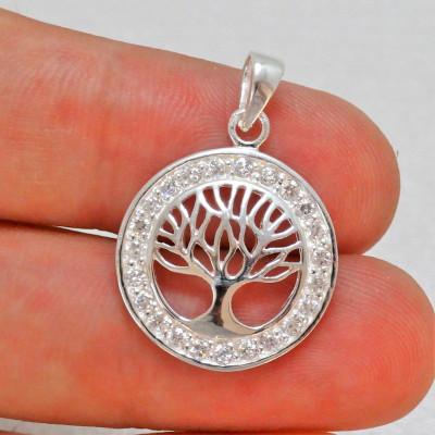 Colgante árbol de la vida en plata 925 mm y circonitas
