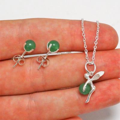 Conjunto Cuarzo verde y plata 925 mm