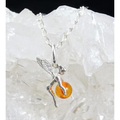 Colgante Hada de la suerte ámbar con cadena plata 925 mm