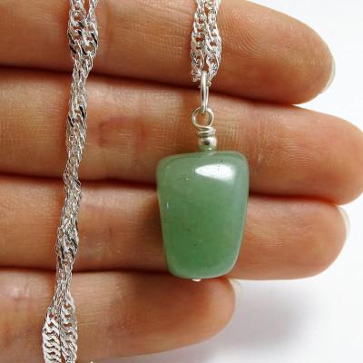Colgante Virgo / Cuarzo Verde con cadena de plata 1ª ley